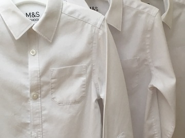 Selling with online payment: White M&S Shirts x6 -  Age 4-5