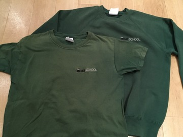 Selling with online payment: Moat School PE Sweatshirt and Tshirt GREEN Child 2XL