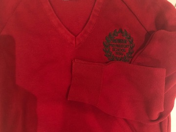 Selling with online payment: Red crest jumper 34' unnamed