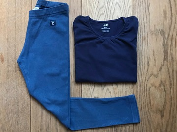 Selling with online payment: Age 6, Girls Bundle, POP, Navy, Leggings + H&M, Navy Long-sleeve