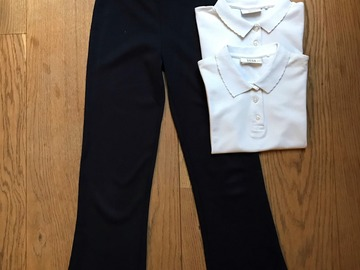 Selling with online payment: Age 8-9, Girls' Bundle, 2x White Polo + 1x Navy Trousers