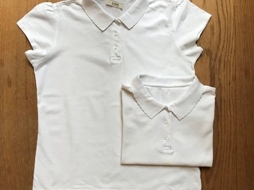 Selling with online payment: Age 13-14, George, White, Short-sleeved Polo, Girls, x2