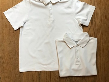 Selling with online payment: Age 9-10, M&S, White, Short-sleeved Polo, x2