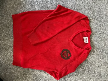 Selling with online payment: Red crest jumper 28""