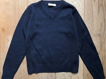 Selling with online payment: Age 9-10, M&S, Navy, V-Neck Jumper
