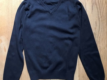 Selling with online payment: Age 11-12, M&S, Navy, V-Neck Jumper