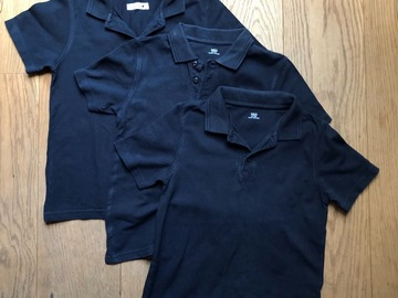 Selling with online payment: Age 7-8, M&S, Navy, Short-sleeved Polo, x3