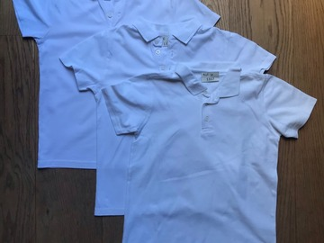 Selling with online payment: Age 10,  White, Short-sleeved Polo, x3